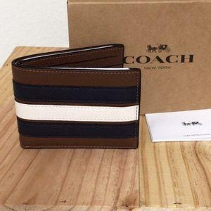 ⚜COACH Slim Billfold Wallet With Varsity Stripe